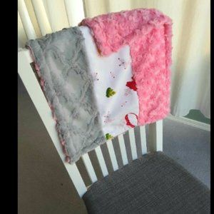 Minky Lovey Baby Security Blanket Pink Gray and Princess Theme
